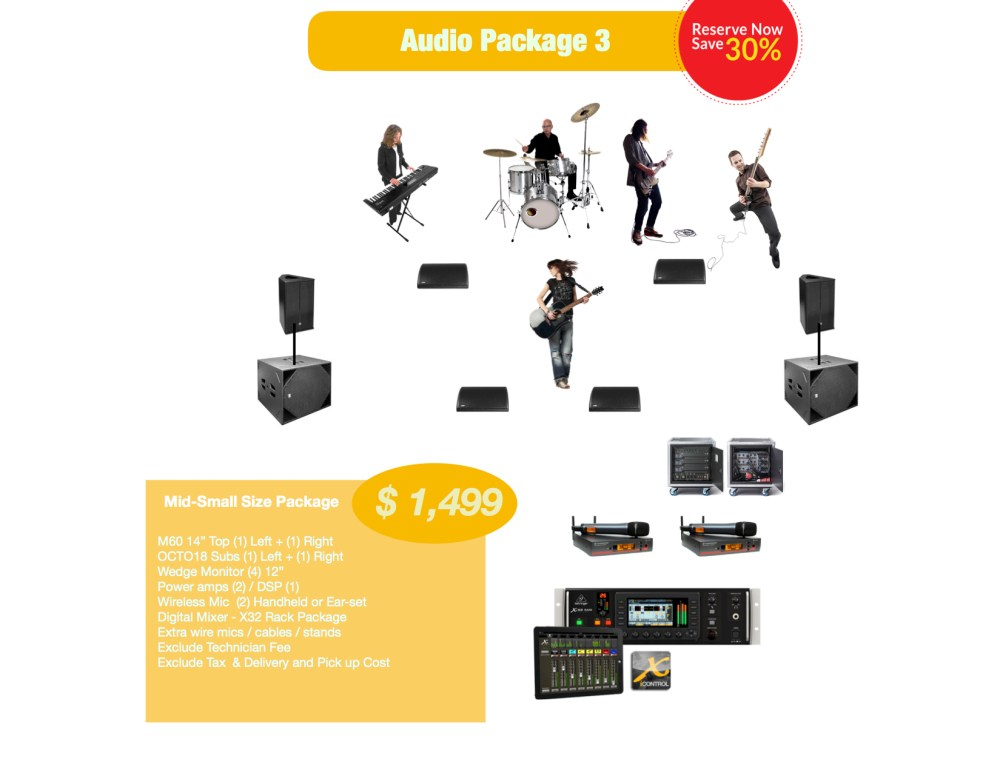 Mid-Small Audio rental package