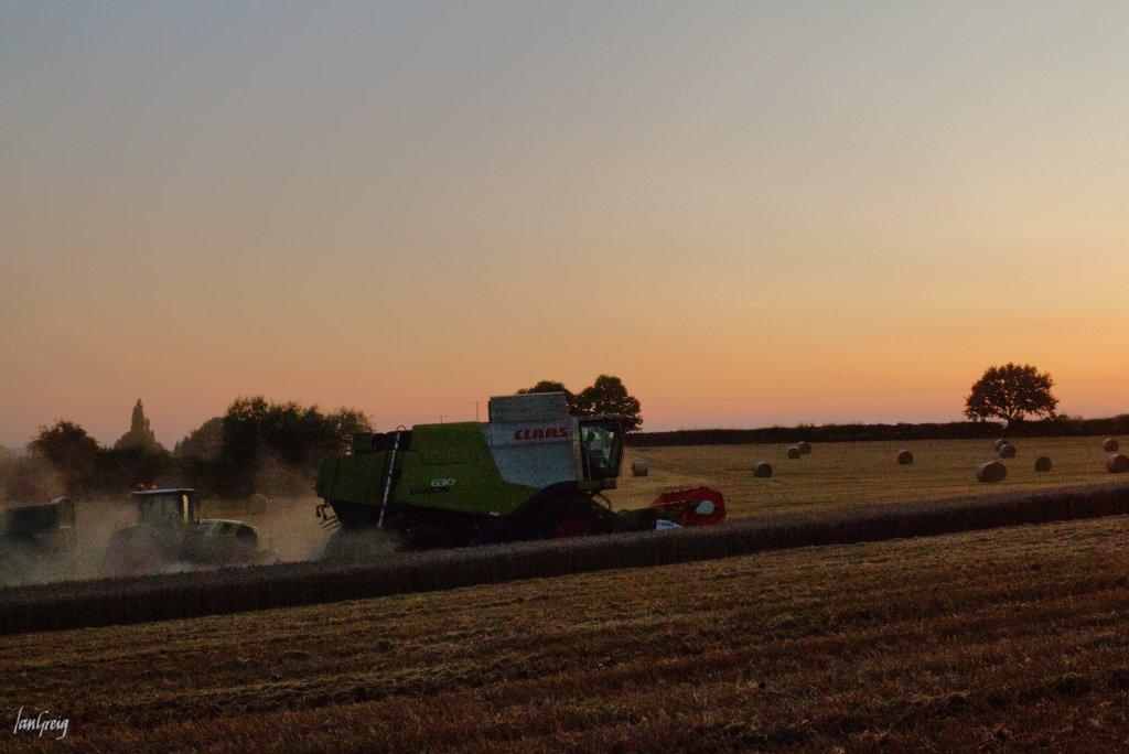 Claas combine finishing a wheat field before nightfall