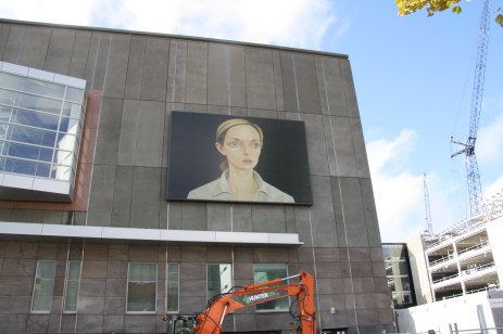 Ever changing art on the wall of the new Christchurch Art Gallery