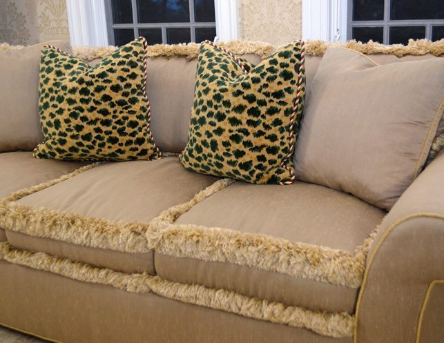 Custom Roll Arm Sofa with Fringe Detail  The Local Vault