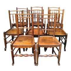 Oak Farmhouse Chairs Navy Upholstered Dining Chair 18th Century Spindleback Set Of 8 The Local Vault