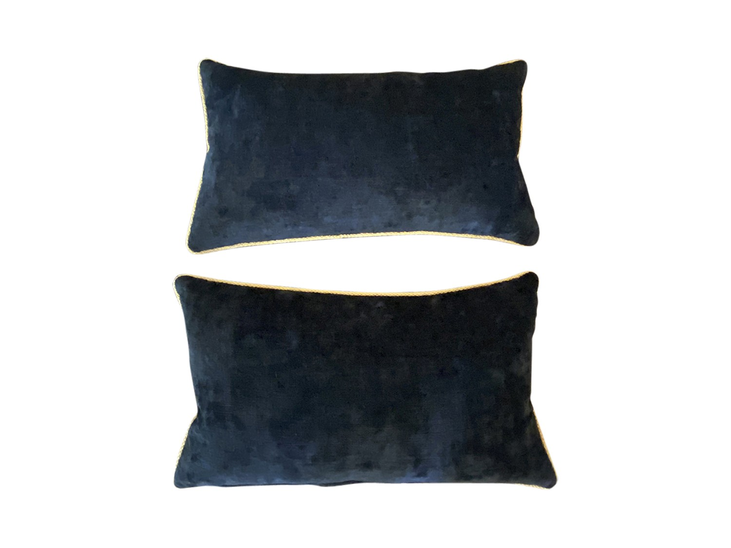 lumbar navy chenille pillows with contrast gold welt pair