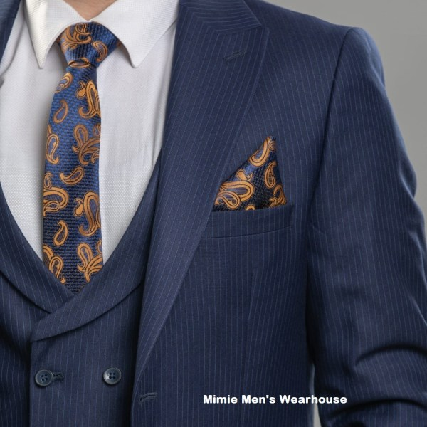 Donatella Navy Blue Striped Men's Suits