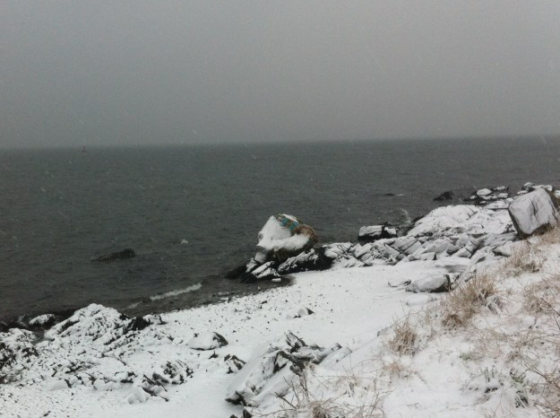 The shore in Kilcreggan was covered in snow - including the famous Tut Tut.