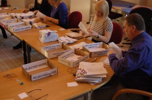 Argyll and Bute Council staff counting votes in a community council by-election in 2012