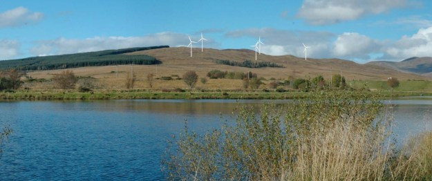The turbines as they would be seen from the reservoir above Helensburgh