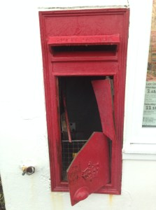 The box at Kilcreggan post office was wrecked.