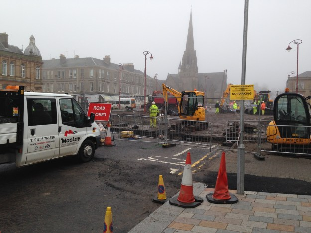 Colquhoun Square is echoing to the noise of diggers today.