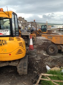 Digging in: West Clyde Street on Sunday.
