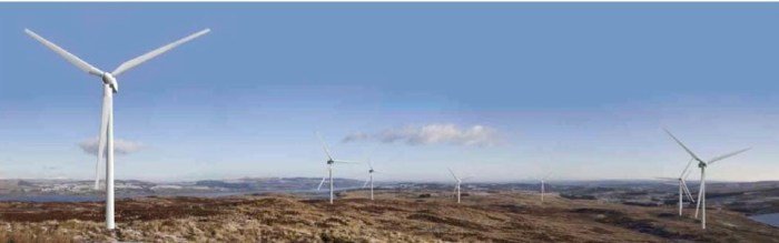 The potential view of the turbines form Corlic Hill