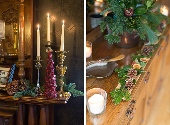 winter candles floral display