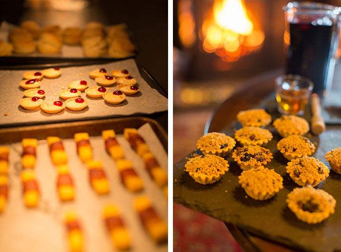 a roaring log fire and some seasonal hors d'oeuvres