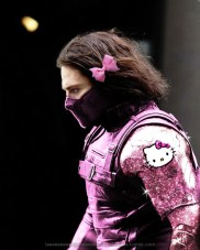 Bucky Barnes in pink and glitter outfit, with hair bow