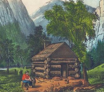 Currier and Ives Log Cabin Lithograph