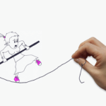 cartoon of a woman on a tightrope