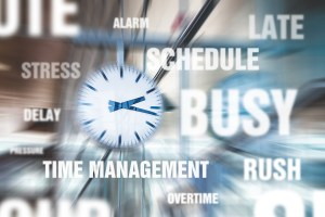 image of the words busy, late, schedule
