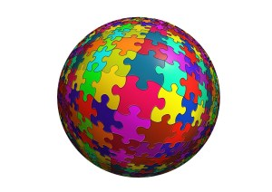 a ball composed of puzzle pieces