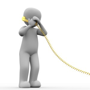 cartoon man looking distressed while on the phone