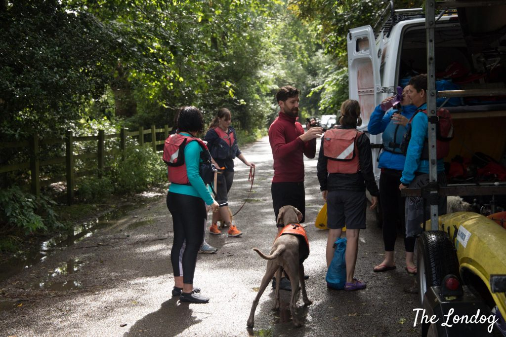 Group of SUP with your Pup participants near van