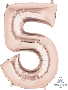 rose gold number 5 balloon helium filled