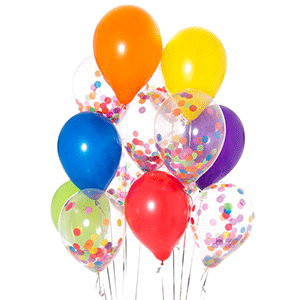 balloon bouquet bunch with confetti balloons