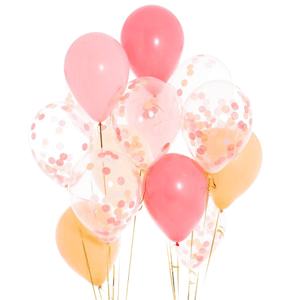 Inflated Helium filled Confetti and latex balloon bunch