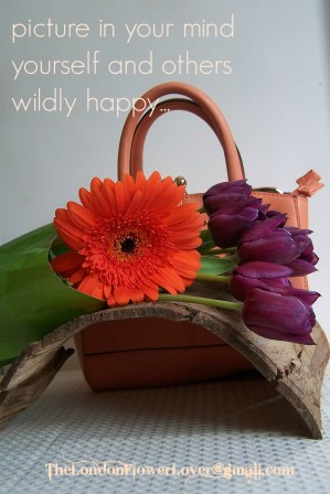 Picture in your mind yourself wildly happy Orange Gerbera and Purple Tulips flowers The London Flower Lover