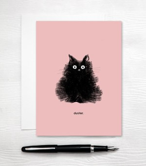 Cute Black Cat Card