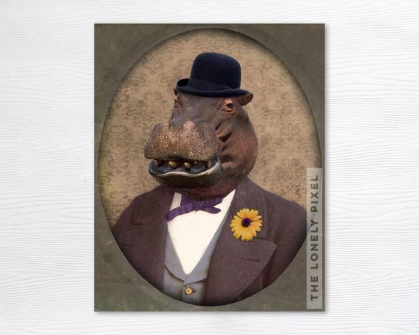 Portrait of a Dapper Hippo, lover of the Bowler Hat!