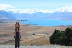 View of Lake Tekapo from the top of Mt John