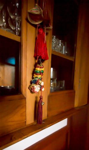 Queen Bee Cottage glassware cabinet