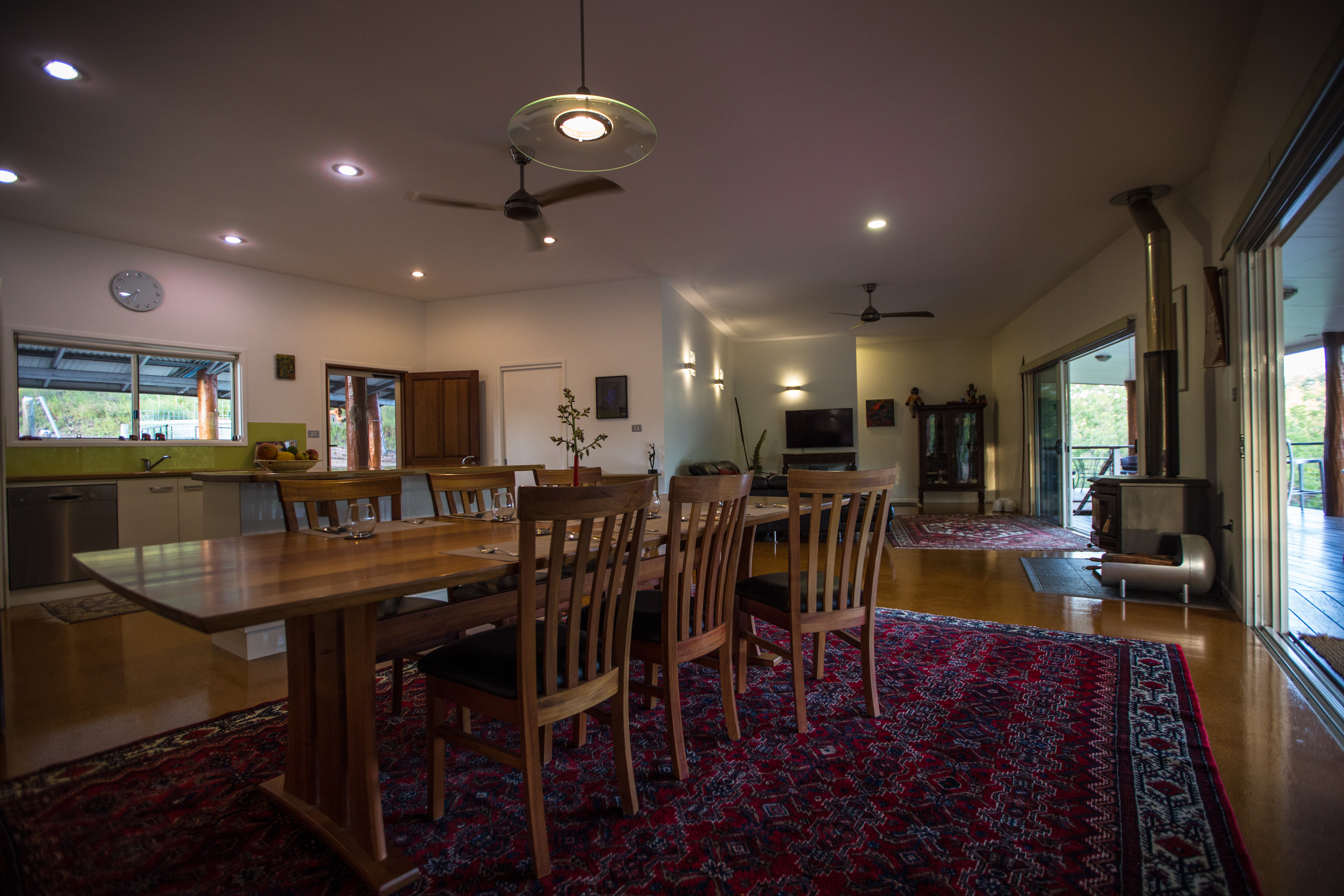 Luxury open plan living extending onto sundeck with river frontage The Long Weekend Retreat Millstream