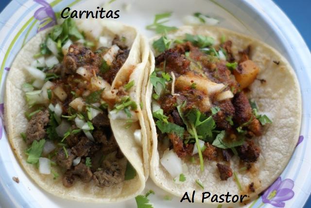 Carnitas and Al Pastor tacos