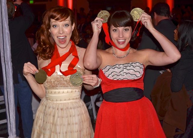All Photos by Billy Bennight for The Los Angeles Beat. Alie and Georgia celebrate winning at the Taste Awards.
