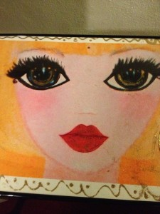A Close-up of one of Angelyne's paintings. (Photo by Nikki Kreuzer)