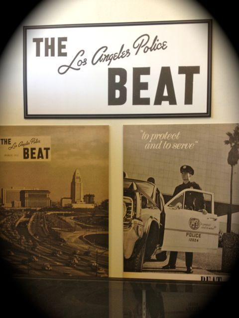 An exhibit at The Los Angeles Police Museum focusing on the internal L.A. police department magazine. (Photo by Nikki Kreuzer)