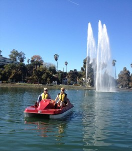 The author pedal boating on Echo Park Lake (photo by Nikki Kreuzer)