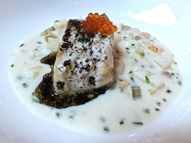 Butter Poached Sturgeon with Clam Chowder. Photo by Ed Simon for The Los Angeles Beat
