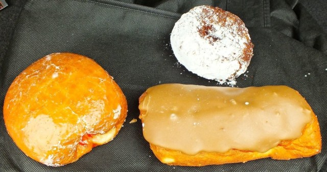 A jelly donut, a maple bar and a crumb donut from Randy's, good any time of the day or night!