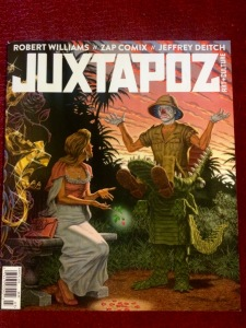 The March 2015 issue of Juxtapoz with a cover painting by Robert Williams (photo by Nikki Kreuzer)