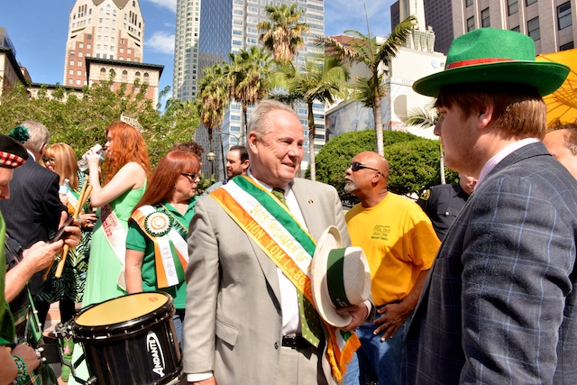 St Paddy's Day at Pershing Square with Tom LaBonge Photo by Billy Bennight for the Los Angeles Beat