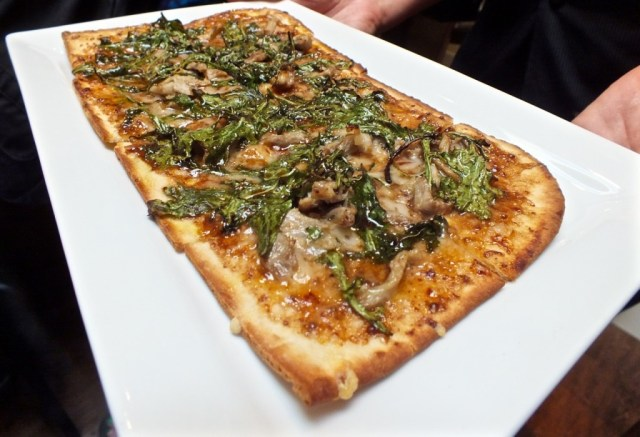 Duck Confit Flatbread. Photo by Ed Simon for The Los Angeles Beat.