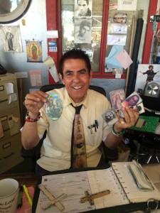 Nick Metropolis and his good luck charms (photo by Nikki Kreuzer)