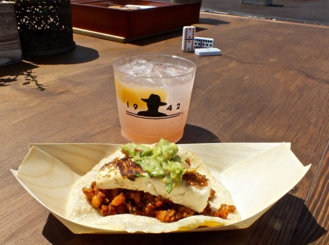Dry aged chorizo taco from Taco Meca with Don Julio cocktail. Photo by Ed Simon for The Los Angeles Beat.