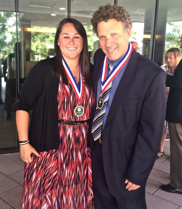 Softball Inductee Dani Yudin with Sportscaster Randy Rosenbloom