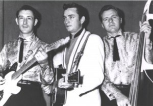The 'Tennessee Three' left to right: Luther Perkins, Johnny Cash and Marshall Grant. Photo courtesy of  Oregon Music News. Copyright 2015.