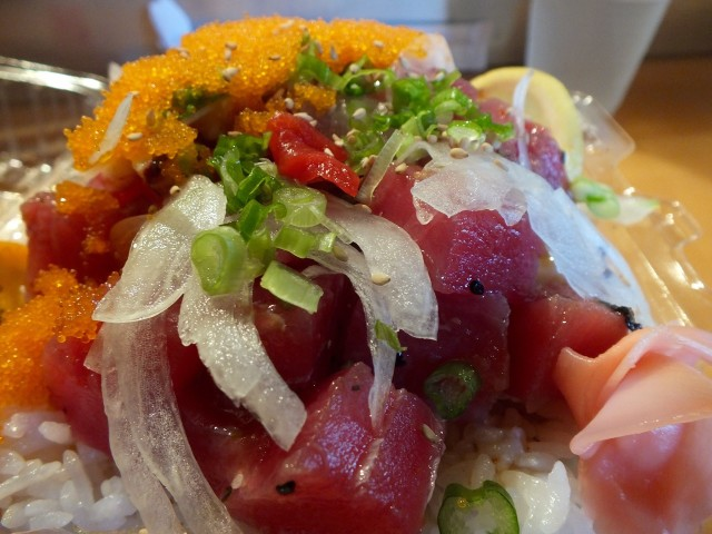 Tuna Masago octopus poke . Photo by Ed Simon for The Los Angeles Beat. ECU