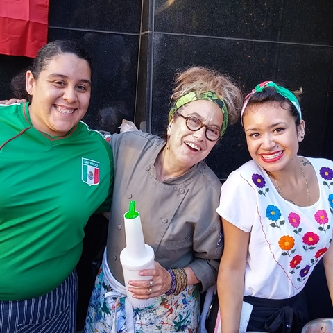 Chef Susan Feniger shares a smile with team Mexico at Border Grill DTLA #bgstreetfoodfight.