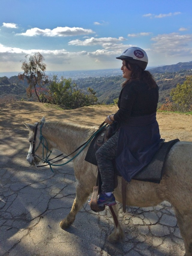 Actress Juliet Cesario and a view of the Los Angeles basin (photo by Nikki Kreuzer)