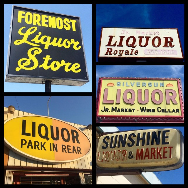 The 1970s in action... Foremost Liquors, built 1973, on Monterey Road in South Pasadena; Liquor Royale, built 1975, on Sunset Blvd in Echo Park; Silversun Liquor on Sunset Blvd in Silverlake; Sunshine Liquor Market on Colorado Blvd in Pasadena; Joseph's Liquor on Pico Blvd in West L.A.